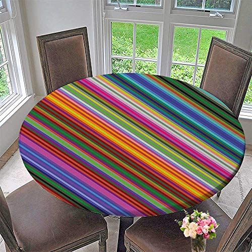Mikihome Simple Modern Round Table Cloth Toned Narrow Diagonal Lines Pinstriped Angular Style Print for Daily use, Wedding, Restaurant 55