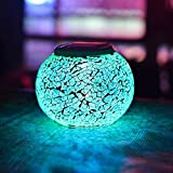 Solar Powered Mosaic Glass Color Changing Table Lamp LED Rechargeable Lamp Crystal Glass Night Light Waterproof Outdoor Lights for Home Yard Patio Party Decorations 5.12 4.13 In (Mosaic-Rainbow) For Sale