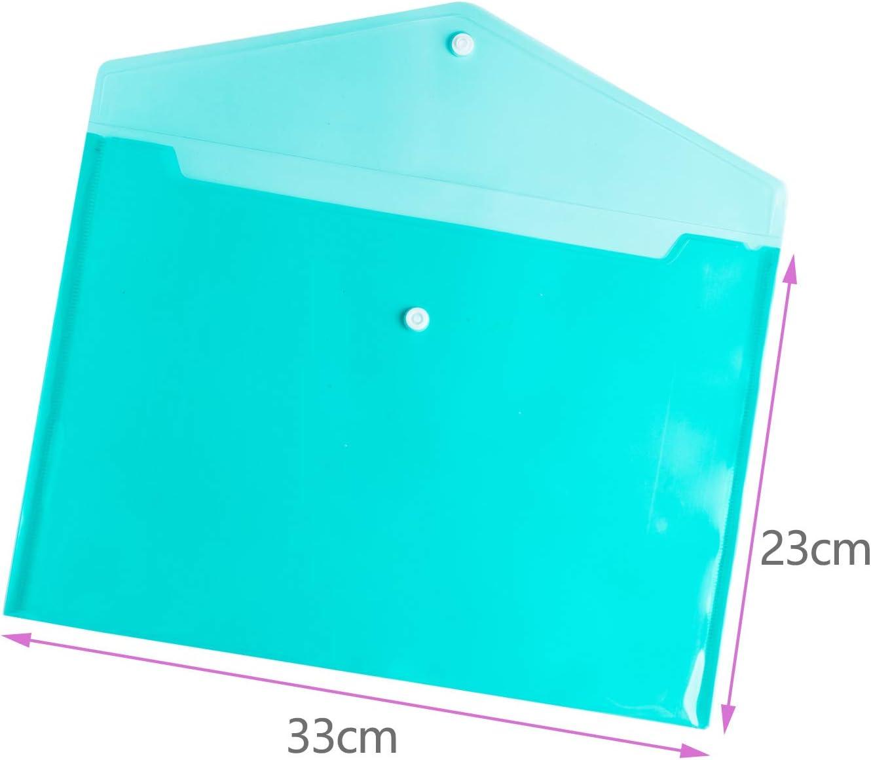 24 unidades carpeta de documentos con cierre de bot/ón A4 8 colores Carpetas de pl/ástico tama/ño A4 con cierre de bot/ón carpetas de pl/ástico