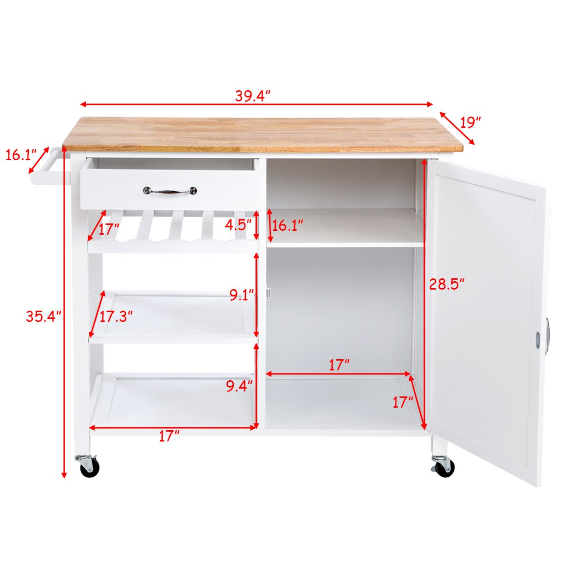 Giantex Kitchen Trolley Cart w/Wheels Rolling Storage Cabinet Wooden Table Multi-Function Island Cart Kitchen Truck (White) by Giantex (Image #7)