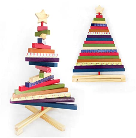Wooden Tabletop Christmas Tree Building Blocks Wooden Plank Christmas Tree  For Tabletop Holiday Decoration Children Intellectual