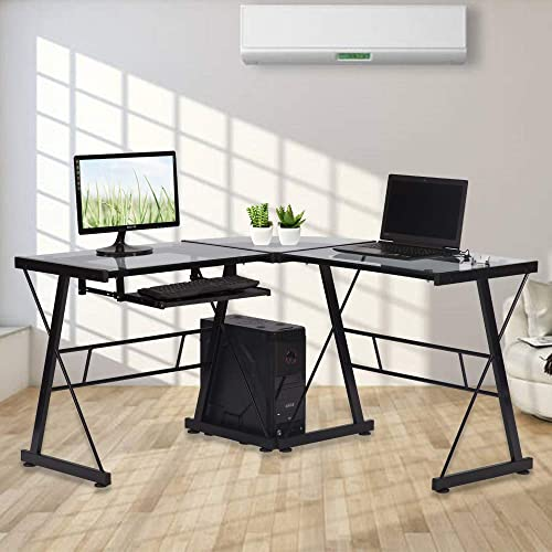 Glass Computer L Shaped Desk – with Keyboard Tray and CPU Stand,Home Office Corner Gaming Desk,PC Laptop Desktop 3-Piece Workstation Table by XXFBag – Clear