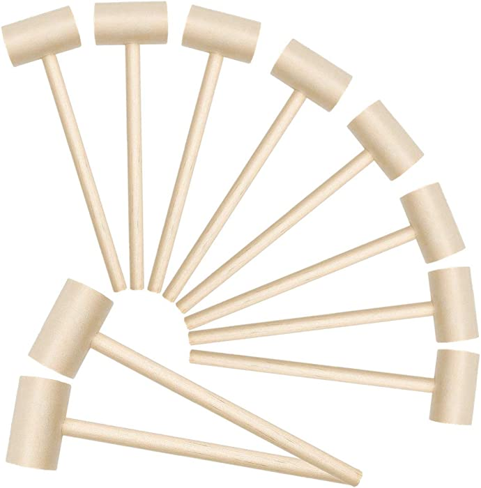 10Pcs Wooden Hammers for Chocolate Crab Mallets Lobster Shellfish Seafood Cracking Tool Solid Natural Hardwood Pounding Beating Mini Gavel for Kids