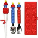 Brick Figure Spoon, Fork, Training Chopsticks and Case set for Toddler Kid Children (Red)