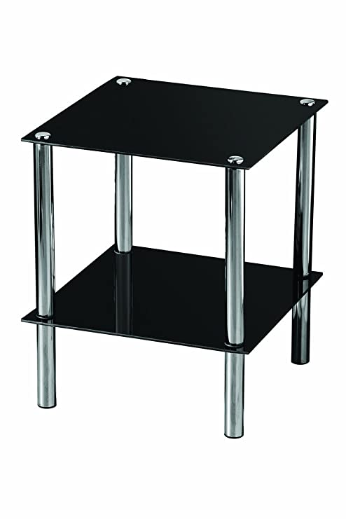 Premier Housewares - Mesita Auxiliar Cuadrada con 2 estantes de Cristal Negro y Patas cromadas, 39 x 39 x 47 cm