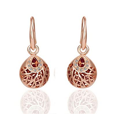 Gold Plated Rose Gold Color Drop Ball Earrings for Women u8sinUjEw