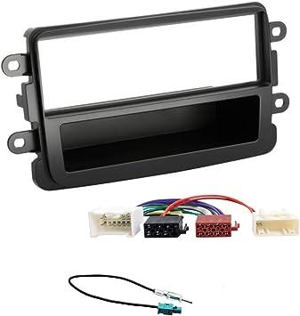 Sound-way Kit Montage Autoradio, Marco 1 DIN Radio de Coche, Adaptador Antena, Cable Adaptador Conector ISO, Compatible con Dacia Duster Sandero