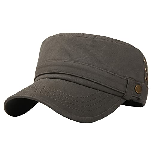 3e0af71bd66 Image Unavailable. Image not available for. Color  Mens Cotton Running  Cadet Flat Top Twill Corps Military Army Baseball Cap Hat