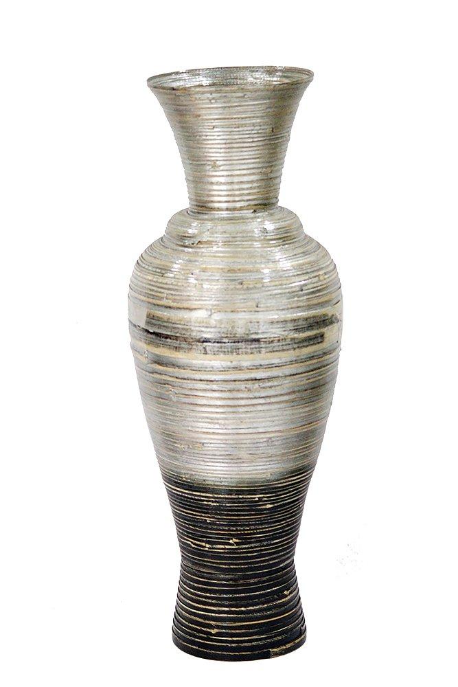 CDM product Heather Ann Creations W33931M-SWD Hand Crafted Spun Bamboo Medium Decanter Vase big image
