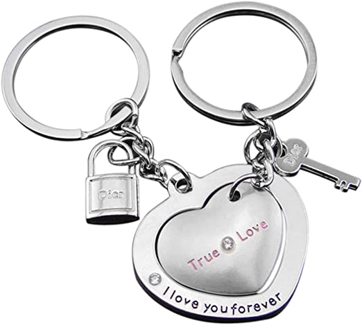 Personalised engraved heart friend//couples keyring lanyard keychain gift