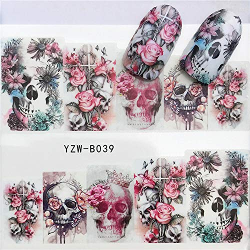 BERYUAN Nail Decals Art Set Halloween Skeleton Nail Stickers Decals Graveyard Gothic Nail Art Design Set Happy Party 2pcs (3)