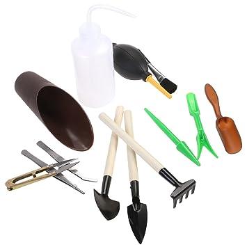 Bestomz 13 Stück Garten Werkzeug Set Sukkulenten Werkzeuge Miniatur