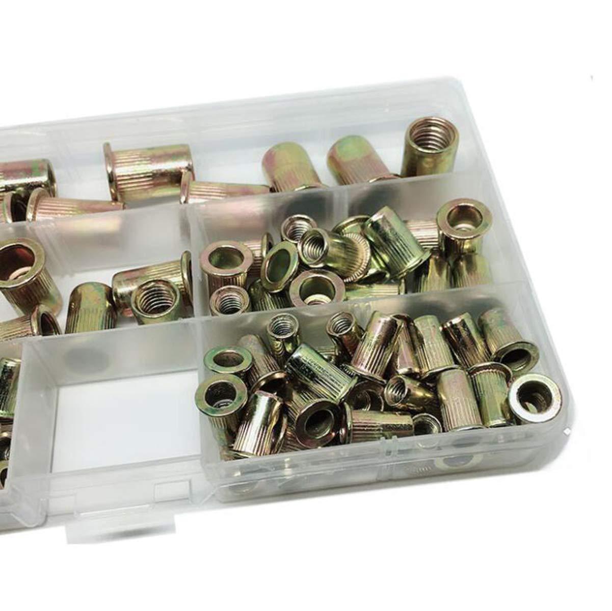 Fiyuer 200 Piezas Remaches Tuerca Threaded Insert Inox Roscado Acero Inoxidable Nutsert Rivet Nut,Por Embotamiento Surtido Kit M3,M4,M5,M6,M8,M10 Packaged by Plastic Case