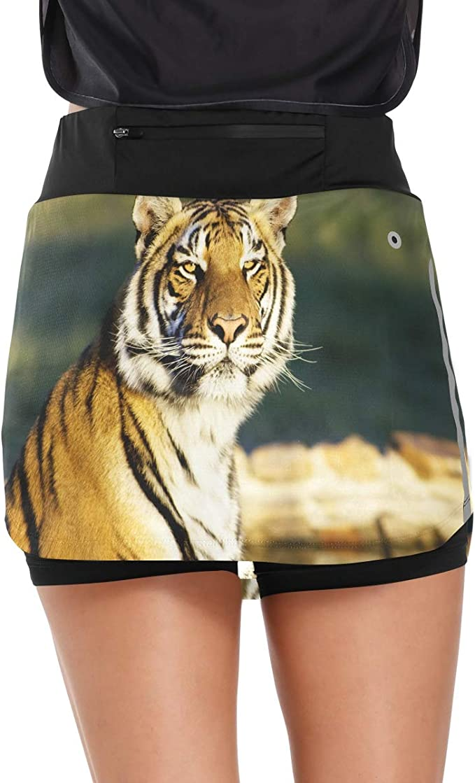 SALE Small Gold Purple LSU Tiger Animal Print Lycra Spandex Ruffle Running Skirt Tennis Skort Sports Skirt