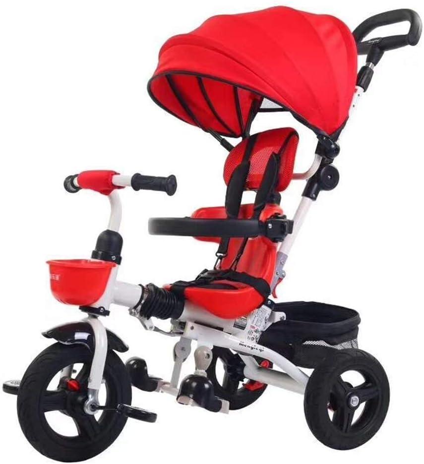 ZzheHou Triciclo para niños Bicicleta Todoterreno de Tres Ruedas for niños de 1 a 6 años Triciclo para niños Plegables (Color : Rojo, tamaño : Un tamaño)