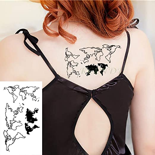 tzxdbh Pegatinas para Tatuajes temporales a Prueba de Agua Mapa ...