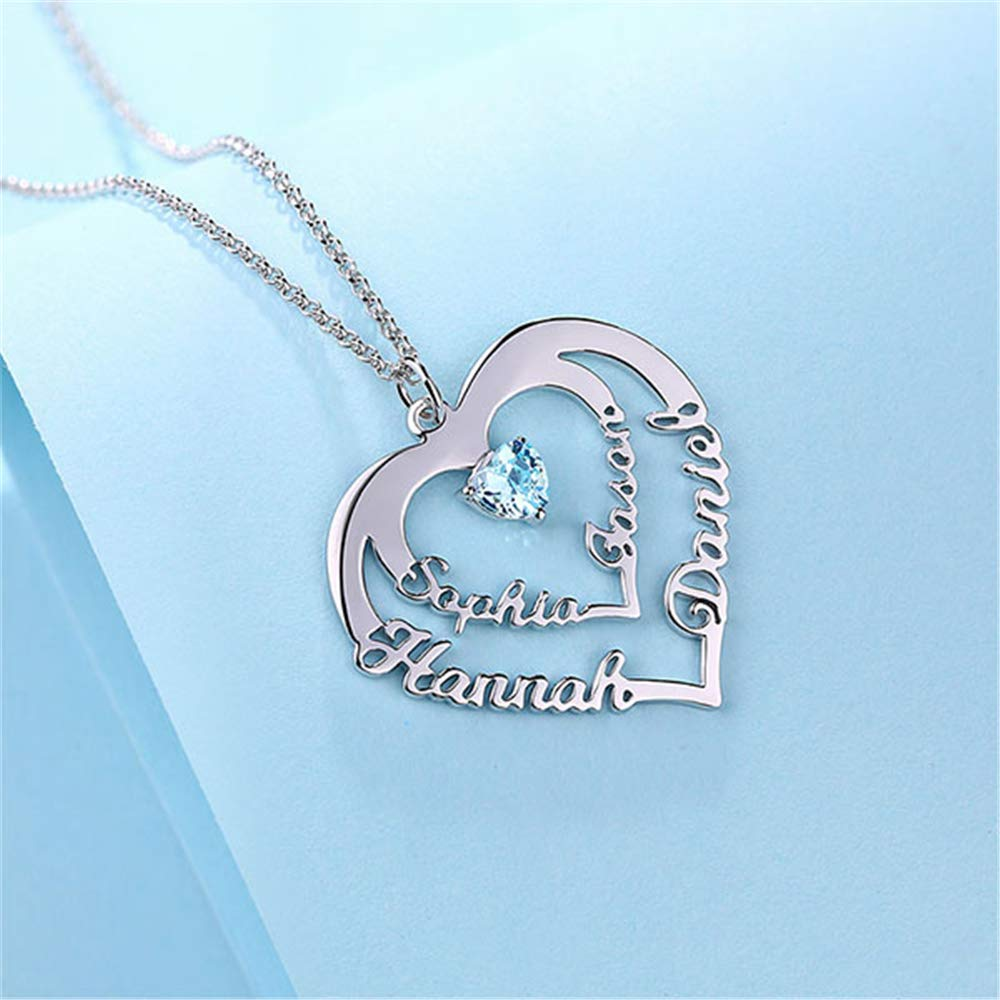 IINFINE Personalized Heart Necklace with 4 Names /& Birthstones Mothers Necklace fo mom,Name Necklace for BFF