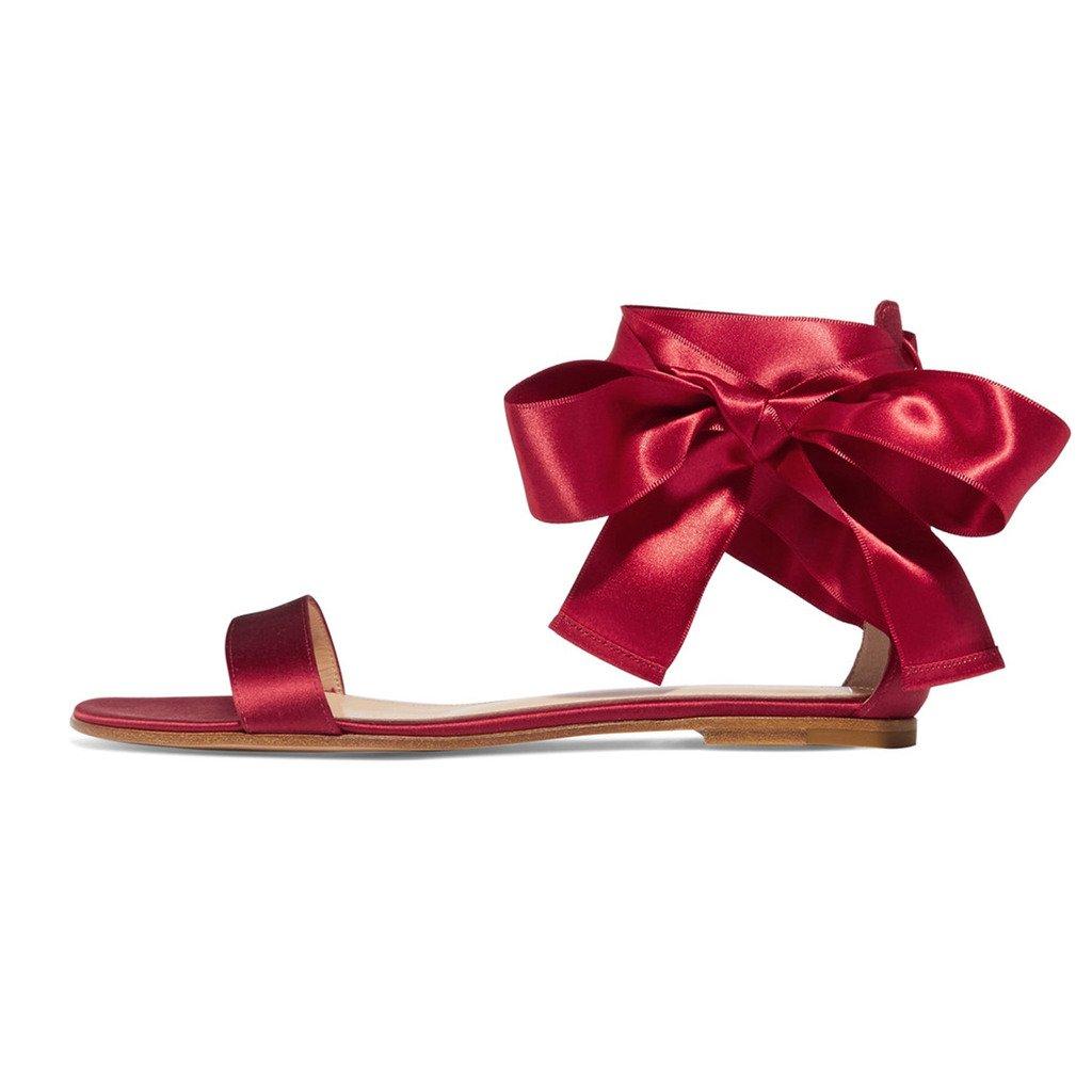 elashe la Chaussures Femme Satin - Sandales - Archets Ouverts à 19913 la Cheville - Summer Satin Flats Rouge 8101bad - robotanarchy.space