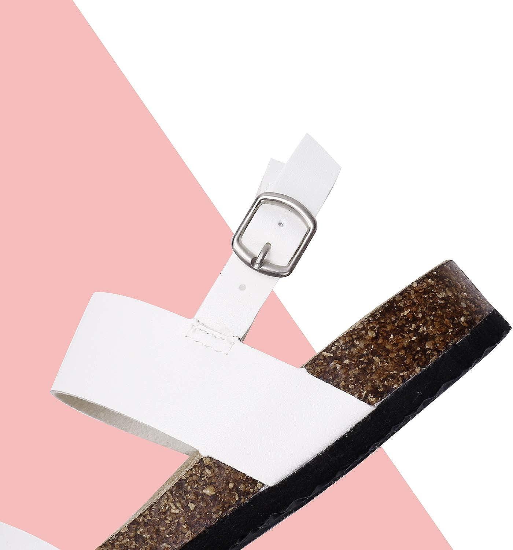 Sandalias de corcho con doble banda abierta para los dedos de las mujeres con hebilla ajustable