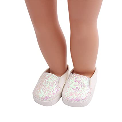 0c7715944fe8e FTXJ American Doll Shoes, Glitter Doll Shoes Star Dress Shoe for 18 Inch  Our Generation American Girl Doll