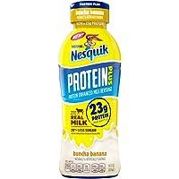 Nestle Nesquik Protein Plus Milk 14 oz Plastic Bottles - Pack of 12 (Buncha Banana)