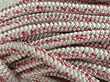 3/4'' By 200 Feet 12 Carrier, 24 Strand Polyester Arborist Bull Rope, White/Red