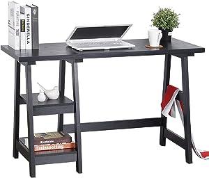 "GreenForest Trestle Desk 47"" Computer Desk Home Office Desk with Storage Bookshelf Modern Study Writing Laptop Table, Black"