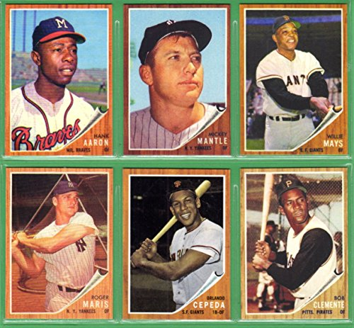 1962 (6) Card Topps Baseball Reprint Lot #6 **Willie Mays, Mickey Mantle, Hank Aaron, Roberto Clemente, Roger Maris, Orlando Cepeda