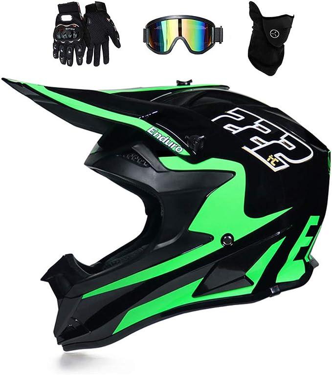 Casco de Motocross Negro Mate, MR-222 Casco Enduro MTB Integral ...