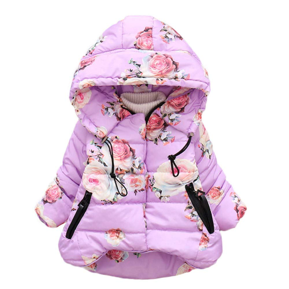 Wenini Toddler Baby Girls Boys Coat Hooded Jacket Winter Floral Print Windproof Tops
