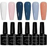 MAYCHAO Gel Nail Polish Set - Blue Series 6 Colors, Soak Off UV LED Nail Gel Kit(2)