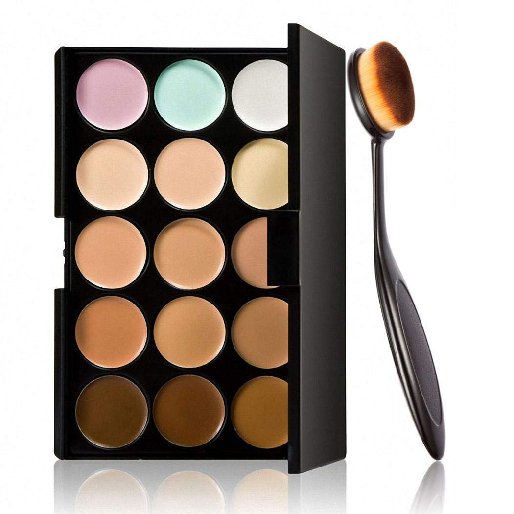 Goodfans 15 Color Contour Cream Concealer Palette With Brush Foundation Makeup Concealers & Neutralizers by Goodfans