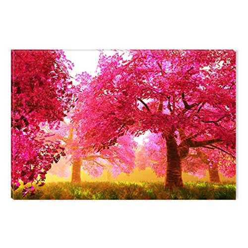 Startonight Canvas Wall Art Red Trees Forest Abstract Nature, Dual View Surprise Artwork Modern Framed 23.62 X 35.43 inch by Startonight