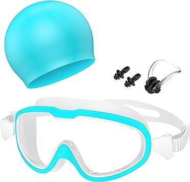 Oferta amazon: Gafas de Natación, Profesional Anti Niebla Sin Fugas Protección UV Marco grande Gafas para Nadar con Libre Clip de Nariz Enchufe de oído Gorro de baño para Hombres Mujeres Adultos Niños de la Juventud