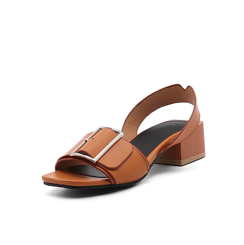 baqijian Shoes Women Shoes Woman Buckle Square Heels Date Casual Summer Sandals Shoes Women Big Size B07C2KSF7G 4 B(M) US|Brown