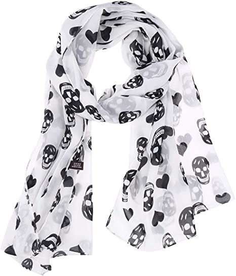 New women/'s scarf scarves shawl wrap chiffon skull print fashion winter