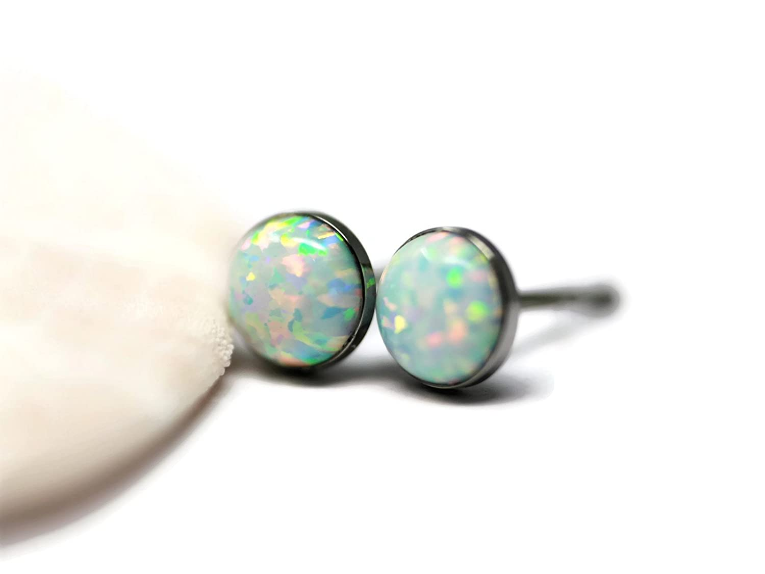 Created Opal and Titanium 6mm Hypoallergenic Stud Earrings