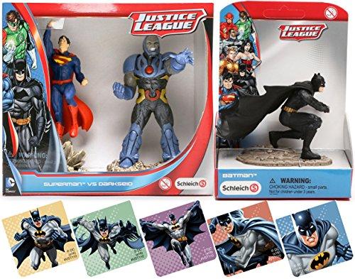 Batman Vs Superman Justice League Action Hero Figures Superman Vs Darkseid   Black Suit Batman 4  Detailed Action Figures Dc Set By Schleich   Bonus Stickers