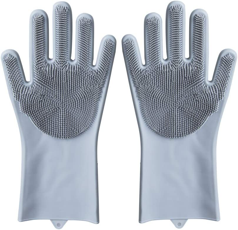 Magic Silicone Gloves Reusable Wash Scrubber Heat Resistant Cleaning Tool Great for Household, Dishwasher, Washing The Car, Pet Hair Care and Massage a Pair Gray