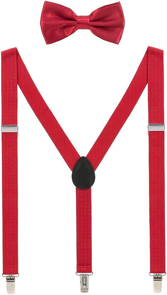 Mens Suspenders and Bow Tie Set Adjustable Elastic Clip On Suspenders for Wedding by Grade Code…