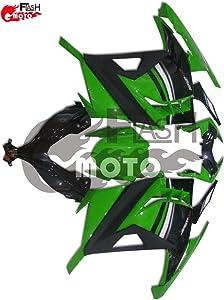 FlashMoto Fairings for Kawasaki EX300R Ninja 300 ZX300R 2013 2014 Painted Motorcycle Injection ABS Plastic Bodywork Fairing Kit Set Green, Black