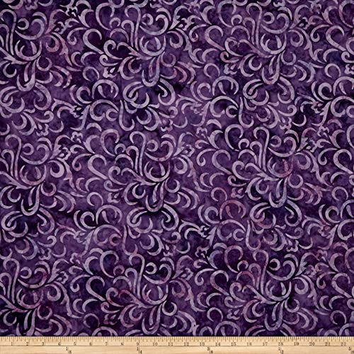Chic Swirl - Maywood Studio Coastal Chic Batiks Swirls Fabric, Deep Purple, Fabric By The Yard