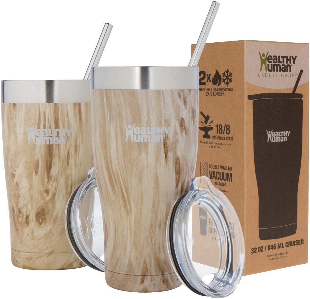 Healthy Human Insulated Stainless Steel Tumbler Travel Cruiser Cup with Straw and Lid 32 oz Willow Oak