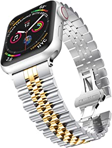 baozai Compatible with Apple Watch Band 44mm 42mm, iWatch SE& Series 6 5 4 3 2 1 Stainless Steel Strap with Butterfly Folding Clasp for Men (Silver/Gold)