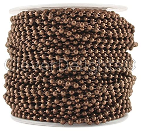 CleverDelights Ball Chain Roll - 100 Feet - Antique Copper Color - 2.4mm Ball - #3 Size - Bulk (Dog Tag Chain Packs)