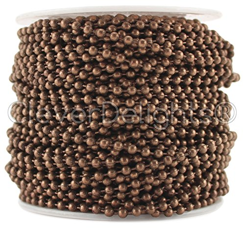 Chain Roll - 30 Feet - Antique Copper Color - 2.4mm Ball - #3 Size (Copper Ball Chain)