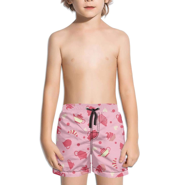 Ouxioaz Boys' Swim Trunk Pink Cupcakes Tea Cups Party Beach Board Shorts