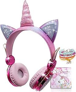 Kids Headphones Wireless Headphones for Kids Unicorn Headphones for Girls Bluetooth w/Microphone Adjustable Headband, Over On Ear Headset for School/Kindle/Tablet/PC Online Study (Pink, Wireless)