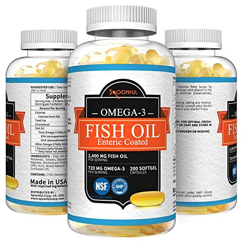 Enteric Oil Fish (Spoonful Omega 3 Fish Oil 2000 mg, 100 Capsules, Rapid Release Burpless Softgels, NSF-Certified (Enteric Coated))