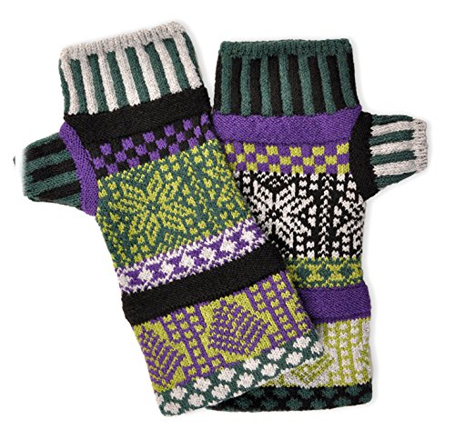 Nylon Gloves Striped (Solmate Socks, Mismatched Fingerless Mittens Gloves Made in the USA, Balsam)